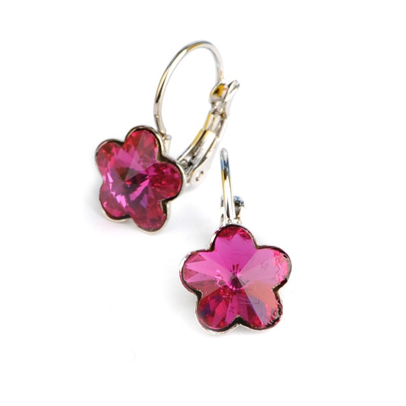 Dívčí náušnice s krystaly Swarovski - tmavě růžové kytičky