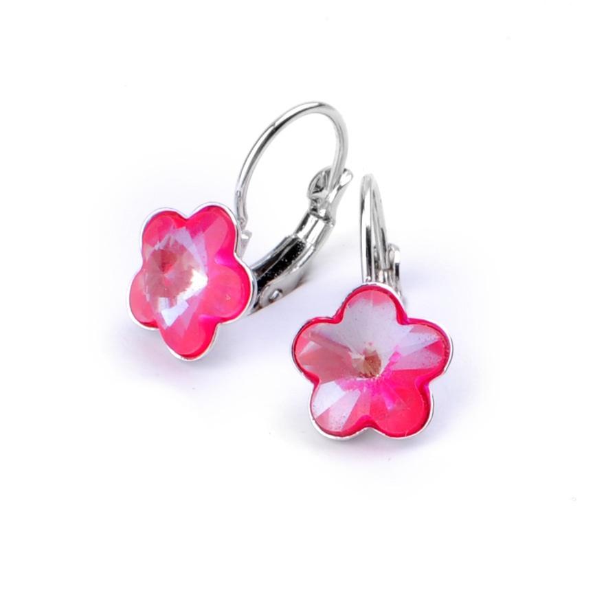 Dívčí náušnice s krystaly Swarovski - neónově růžové kytičky