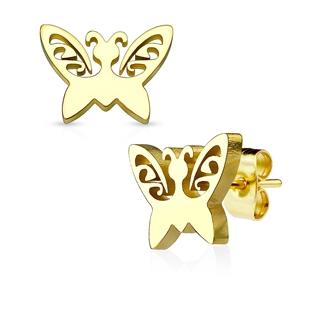 Ocelové náušnice - motýlci pozlacení