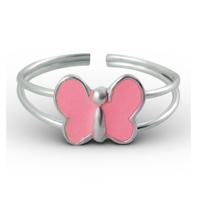 Stříbrný dětský prsten - růžový motýlek