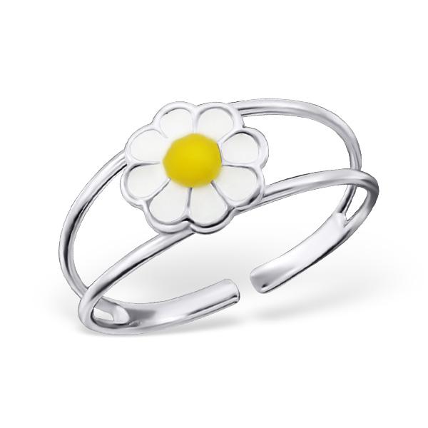 Stříbrný dětský prsten - bílá kytička