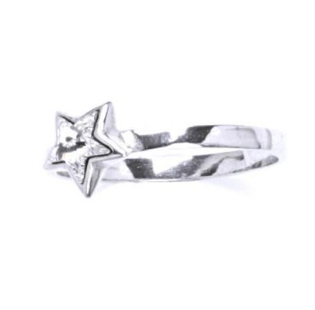 Stříbrný dětský prsten - čirá hvězdička Velikost: Velikost 40