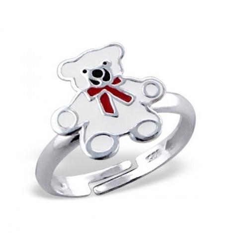 Stříbrný dětský prsten - bílý medvídek