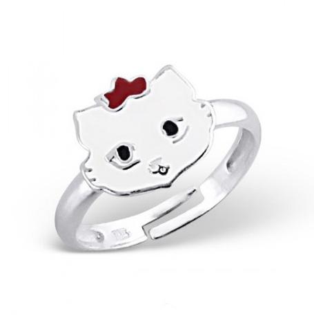 Stříbrný dětský prsten - bílá kočička