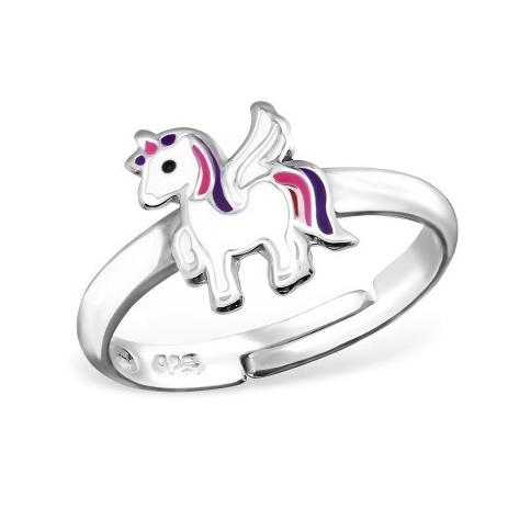 Stříbrný dětský prsten - bílý jednorožec