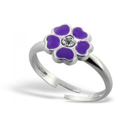 Stříbrný dětský prsten - fialová kytička