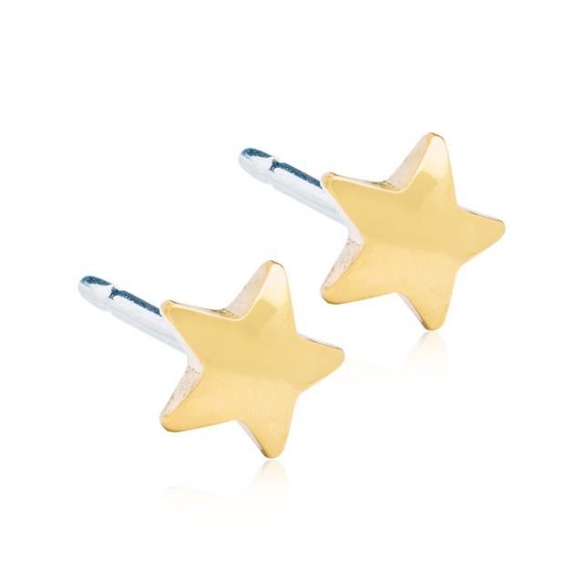 Dětské náušnice hvězdičky z lékařského titanu - pozlacené Velikost: 5 mm