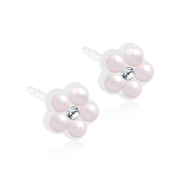 Dětské náušnice kytičky z lékařského plastu s růžovými perličkami
