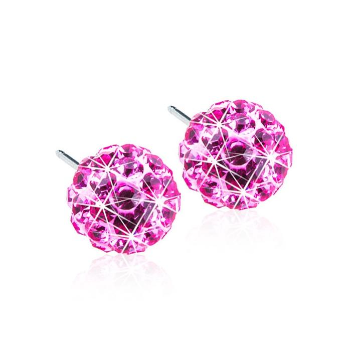 Dětské náušnice z lékařského titanu - tmavě růžové kuličky Swarovski