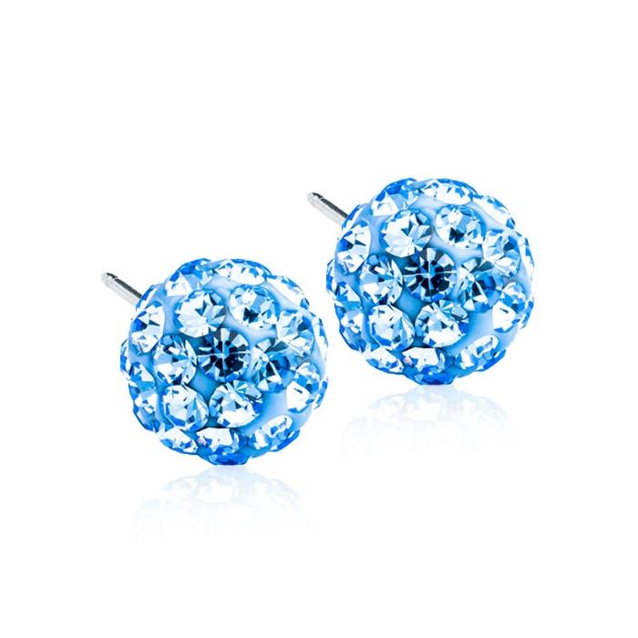 Dětské náušnice z lékařského titanu - světle modré kuličky Swarovski