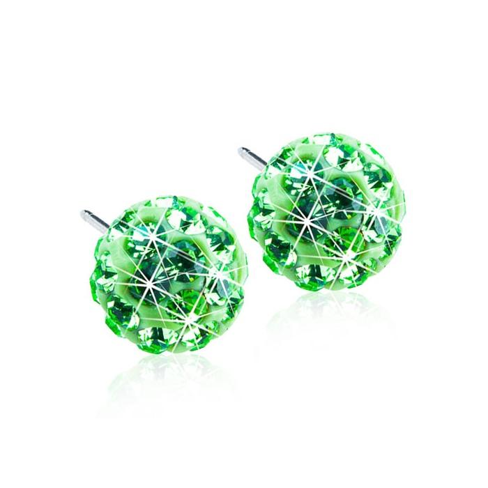 Dětské náušnice z lékařského titanu - zelené kuličky Swarovski