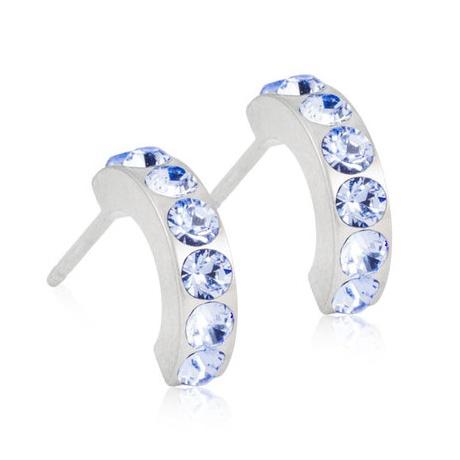 Dívčí náušnice z lékařského titanu - půlkroužky s modrými krystaly Swarovski