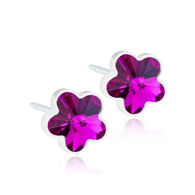 Dětské náušnice tmavě růžové kytičky z lékařského plastu