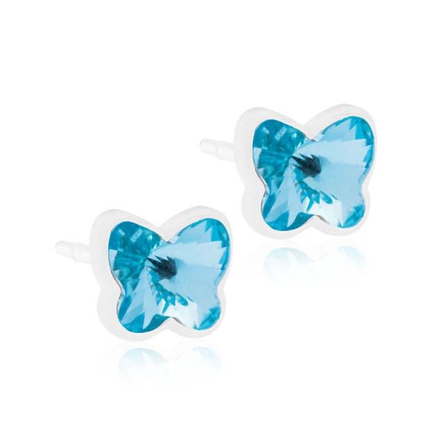 Dětské náušnice motýlci z lékařského plastu - se světle modrými krystaly Swarovski