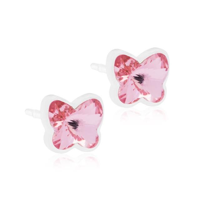 Dětské náušnice motýlci z lékařského plastu - se světle růžovými krystaly Swarovski