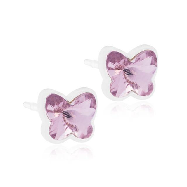 Dětské náušnice motýlci z lékařského plastu - fialovými krystaly Swarovski