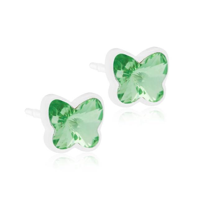 Dětské náušnice motýlci z lékařského plastu - se světle zelenými krystaly Swarovski