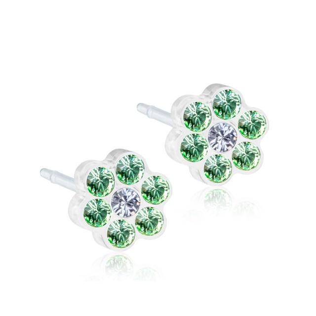 Dětské náušnice z lékařského plastu - květinky se zelenými zirkony