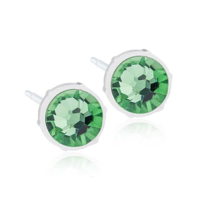 Dětské náušnice z lékařského plastu s krystaly Swarovski - kolečka zelená