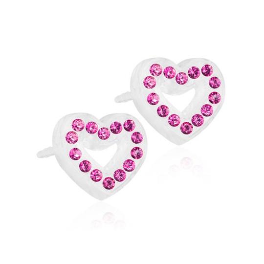 Dětské náušnice srdíčka z lékařského plastu s růžovými krystaly Swarovski