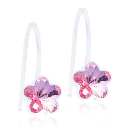 Dětské závěsné náušnice z lékařského plastu - růžové kytičky