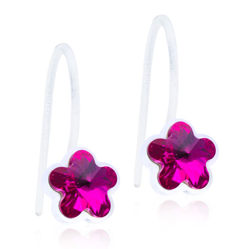 Dětské závěsné náušnice kytičky z lékařského plastu - tmavě růžové kytičky