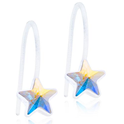 Dětské závěsné náušnice z lékařského plastu - duhové hvězdičky