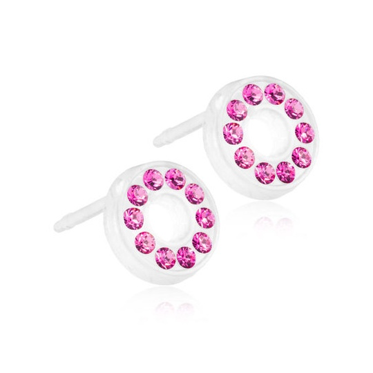 Dětské náušnice z lékařského plastu s krystaly Swarovski - růžová kolečka