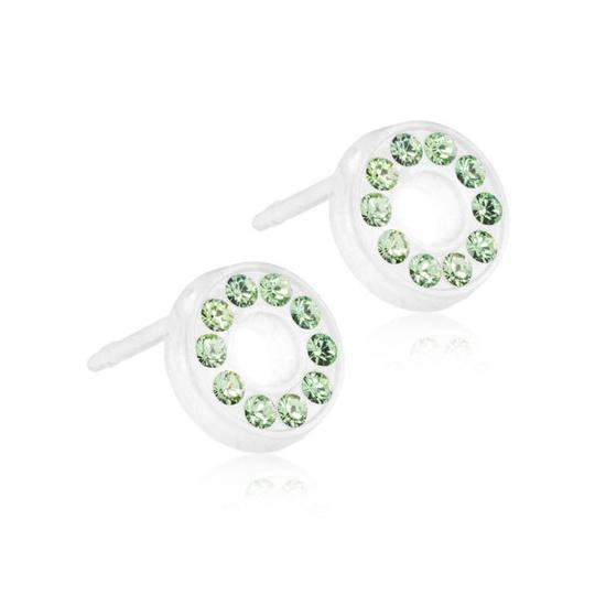 Dětské náušnice z lékařského plastu s krystaly Swarovski - zelená kolečka