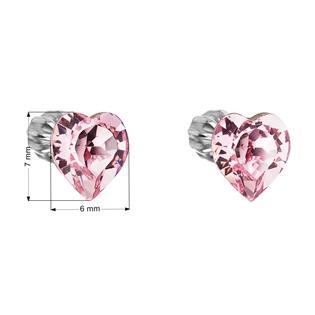 Dětské stříbrné náušnice s krystaly Swarovski - růžové srdíčko
