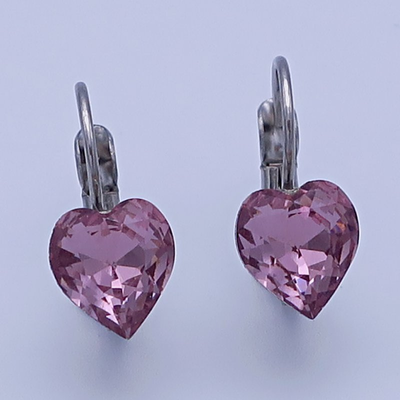 Dívčí náušnice z chirurgické oceli - srdíčka s fialovým krystalem Swarovski