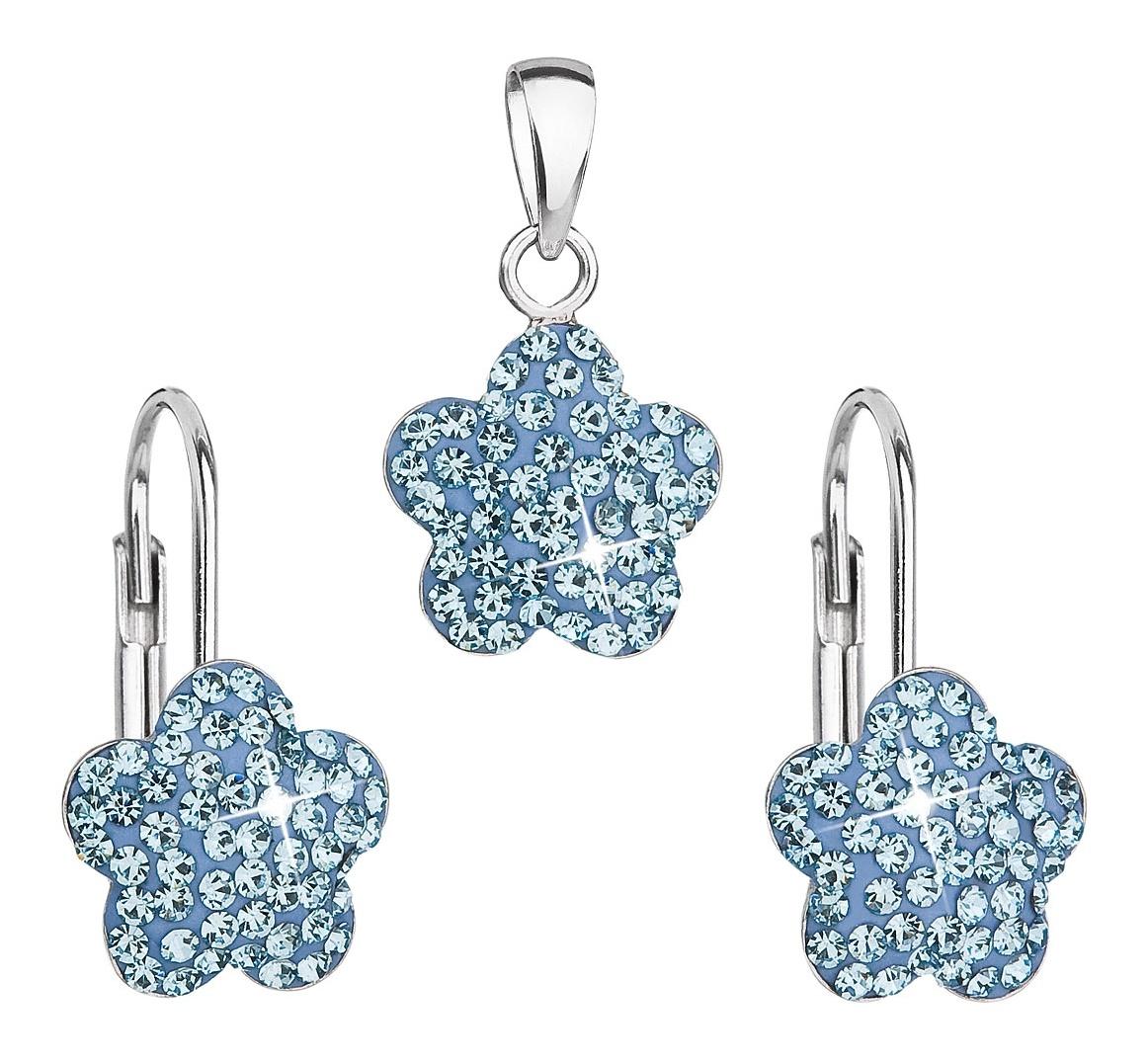 Dětská stříbrná souprava - modré kytičky s krystaly Swarovski