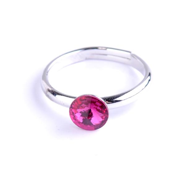 Dětský prsten Swarovski® crystals Rivoli - tmavě růžový 6 mm