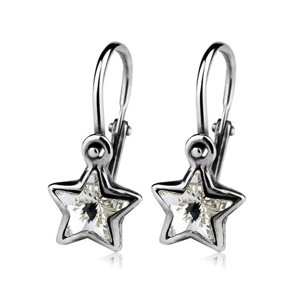 Dětské stříbrné náušnice hvězdičky s čirými krystaly Swarovski