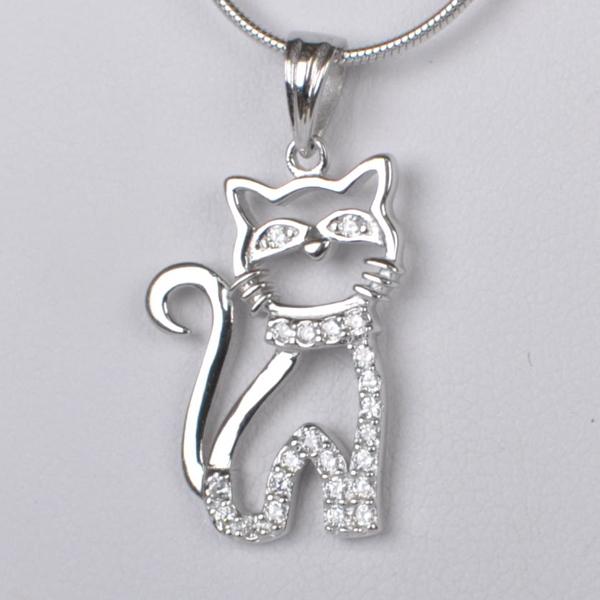Dětský stříbrný přívěsek se zirkony - kočička