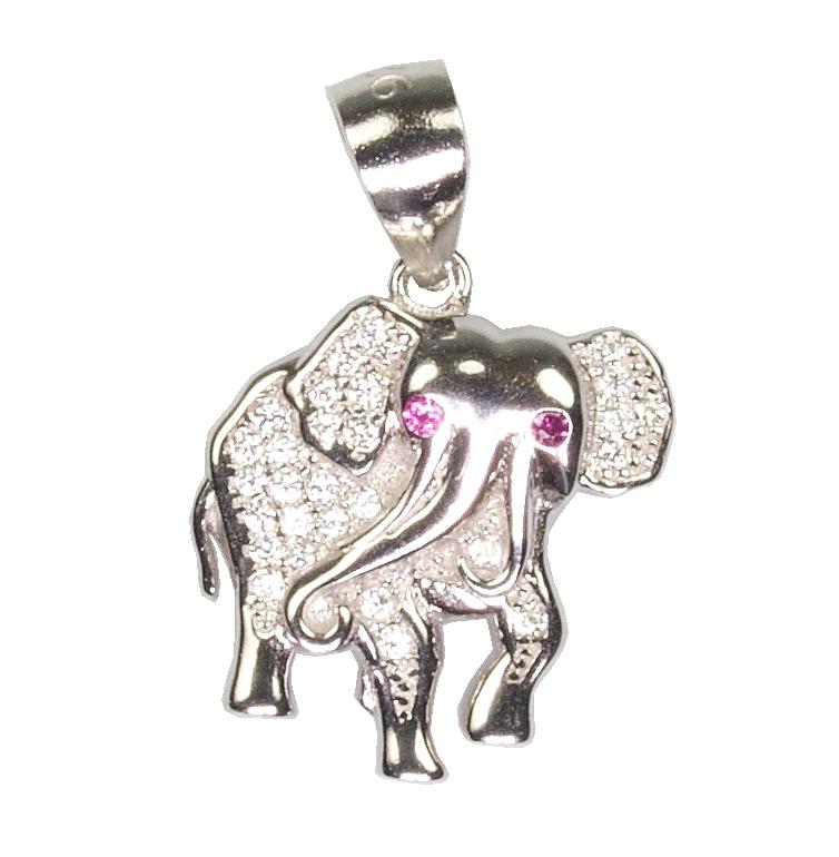 Dětský stříbrný přívěsek se zirkony - slon