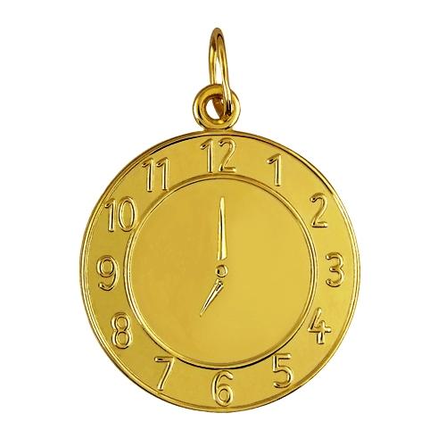 Zlatý dětský přívěsek - křtící hodiny, váha 1,65 g Rytina: Přívěsek