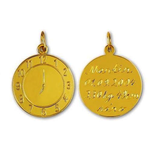 Zlatý dětský přívěsek - křtící hodiny, váha 1,65 g Rytina: Přívěsek včetně rytiny