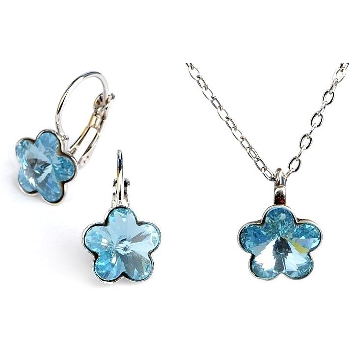 Dětská souprava šperků s krystaly Swarovski - modré kytičky 10 mm