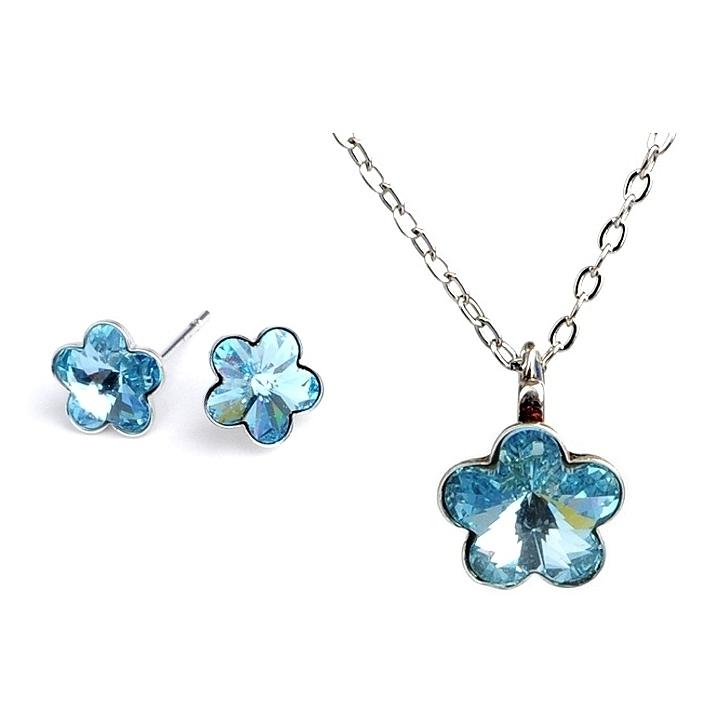 Dětská souprava šperků s krystaly Swarovski - modré kytičky 10 mm a 6 mm
