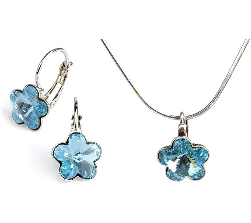 Dětská stříbrná souprava šperků s krystaly Swarovski - modré kytičky 10 mm