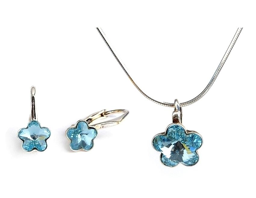 Dětská stříbrná souprava šperků s krystaly Swarovski - modré kytičky 10 mm a 6 mm