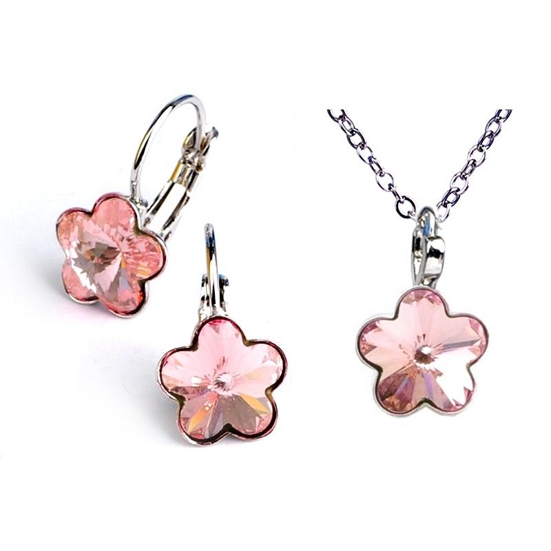Dětská souprava šperků s krystaly Swarovski - světle růžové kytičky 10 mm