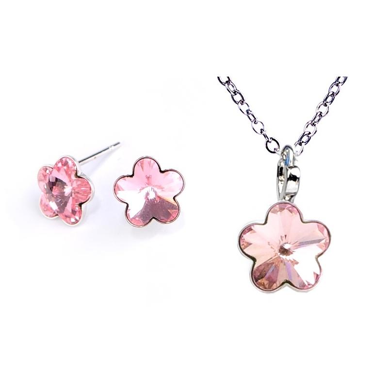 Dětská souprava šperků s krystaly Swarovski - světle růžové kytičky 10 mm a 6 mm
