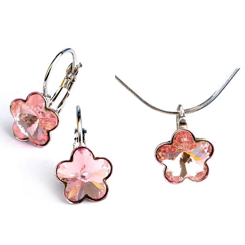 Dětská stříbrná souprava šperků s krystaly Swarovski - světle růžové kytičky 10 mm