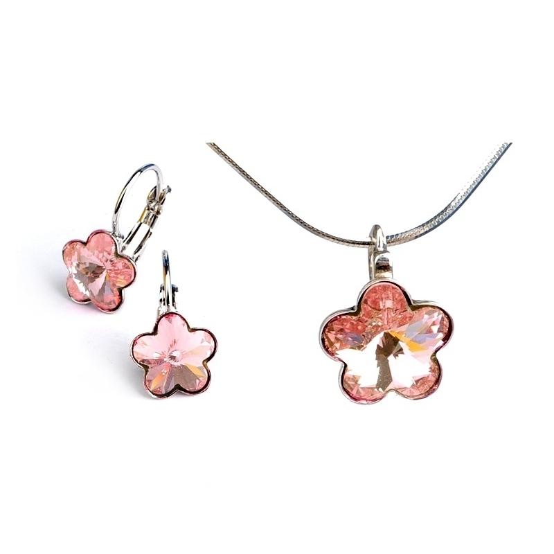Dětská stříbrná souprava šperků s krystaly Swarovski - světle růžové kytičky 10 mm a 6 mm
