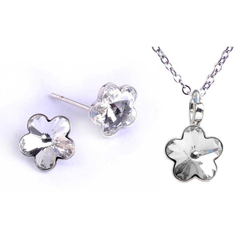 Dětská souprava šperků s krystaly Swarovski - čiré kytičky 10 mm