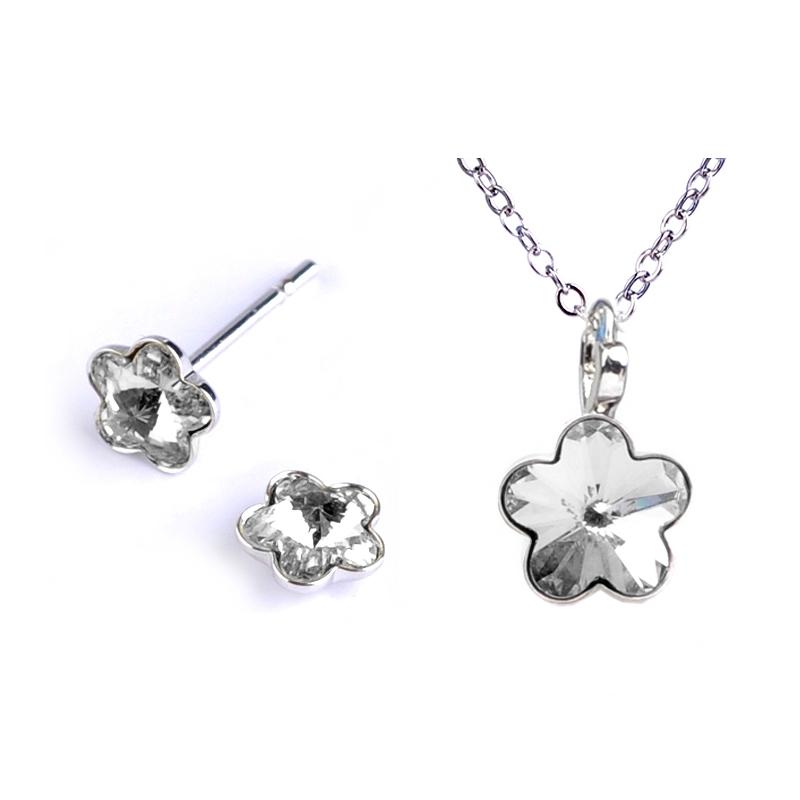 Dětská souprava šperků s krystaly Swarovski - čiré kytičky 10 mm a 6 mm