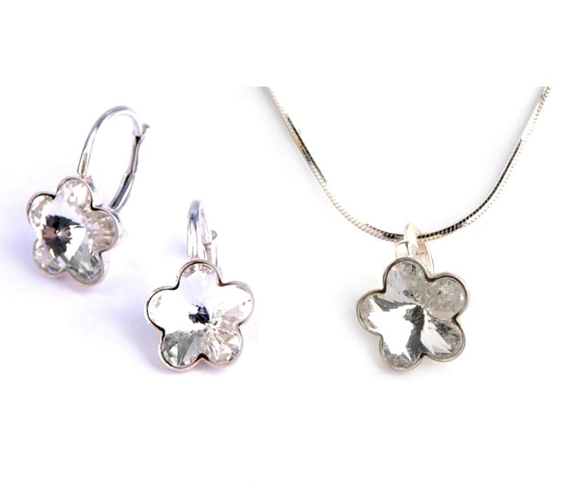 Dětská stříbrná souprava šperků s krystaly Swarovski - čiré kytičky 10 mm