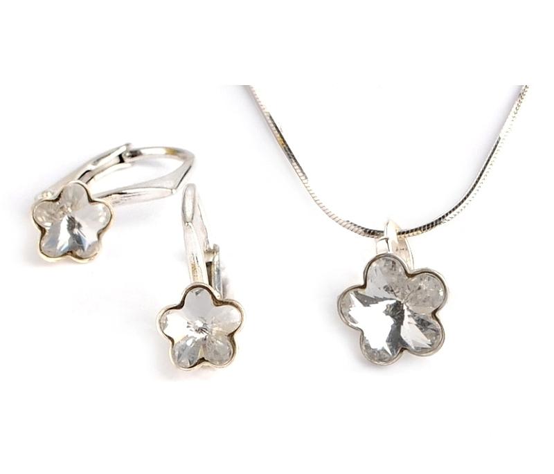 Dětská stříbrná souprava šperků s krystaly Swarovski - čiré kytičky 10 mm a 6 mm